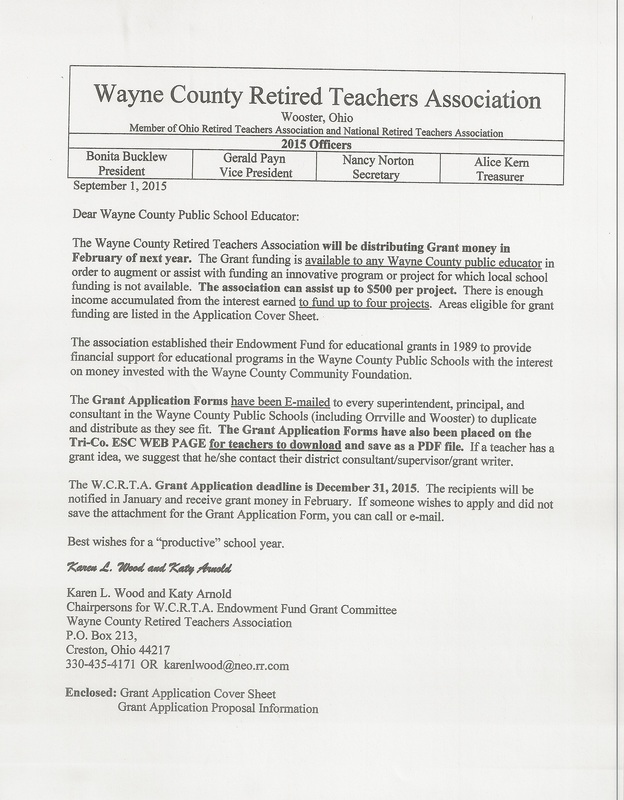 Teacher Grant Application  Wayne County Retired Teachers