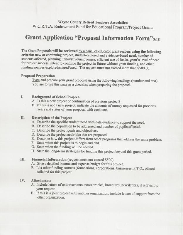 Teacher Grant Application - Wayne County Retired Teachers